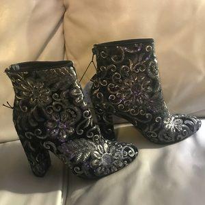 Sequin high heel booties